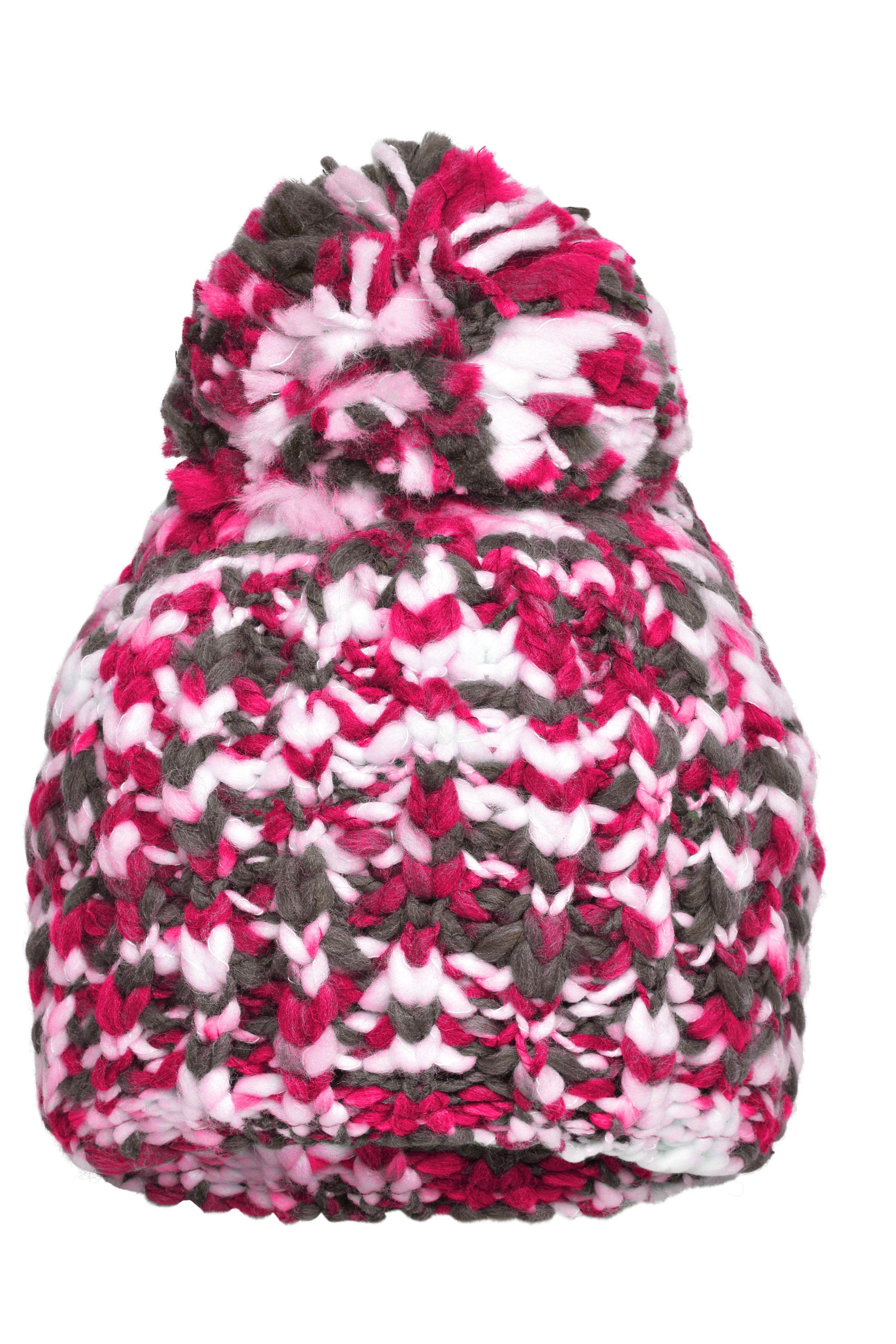 Lässige Mütze in grober Strickoptik mit Pompon