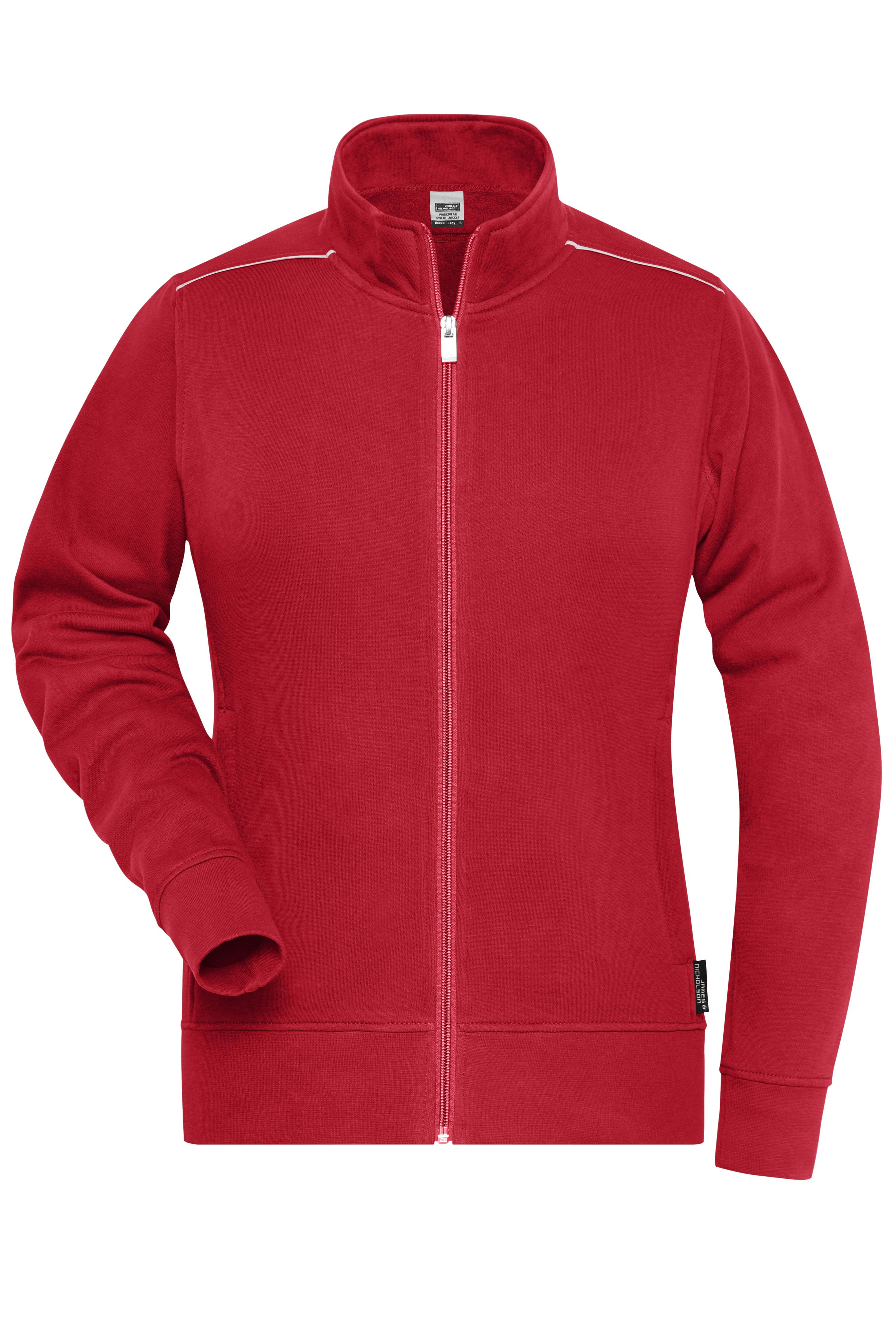 Sweat-Jacke mit Stehkragen und Kontrastpaspel
