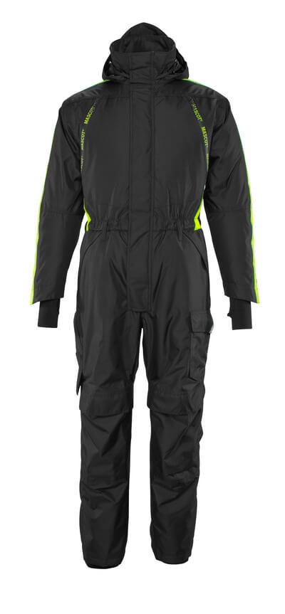 Overall mit Knietaschen,geringes Gewicht Winterkombination Größe 2XL, schwarz/hi-vis gelb