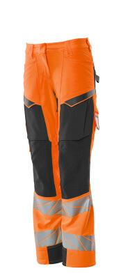 Hose, Damen,Diamond, Knietaschen,Stretch Hose Größe 82C34, hi-vis orange/dunkelanthrazit
