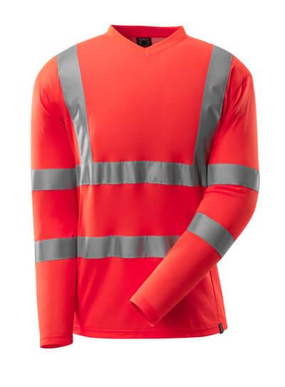 T-Shirt, V-Ausschnitt, lange Ärmel T-shirt Größe XL, hi-vis rot