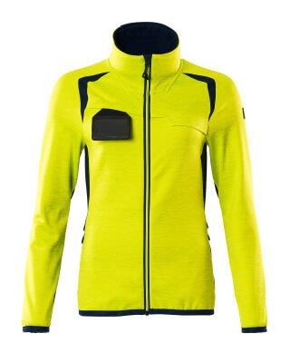 Fleecepullover mit Reißverschluss, Damen Microfleecejacke Größe 2XL, hi-vis gelb/schwarzblau