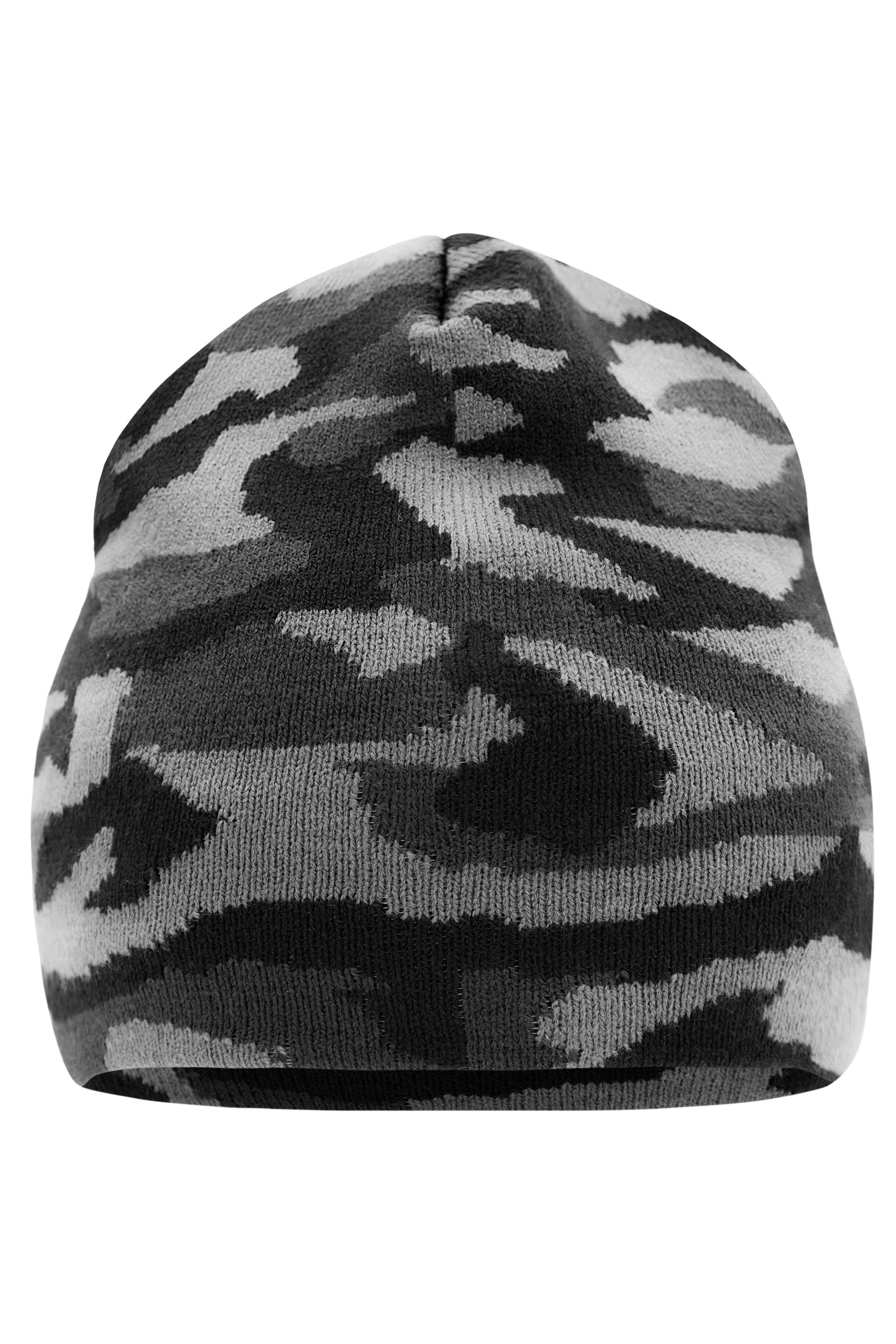 Klassiche Strickmütze mit modischem Camouflage-Design