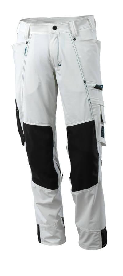 Hose mit Knietaschen, Stretchstoff Hose Größe 82C44, weiss