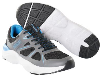 Sneaker mit Schnürsenkeln Arbeitsschuhwerk 01 Berufsschuh Größe 1042, schwarz/dunkelanthrazit/türkisblau