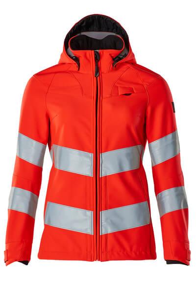 Soft Shell Jacke, Damenmodell, EN20471 Soft Shell Jacke Größe 3XL, hi-vis rot