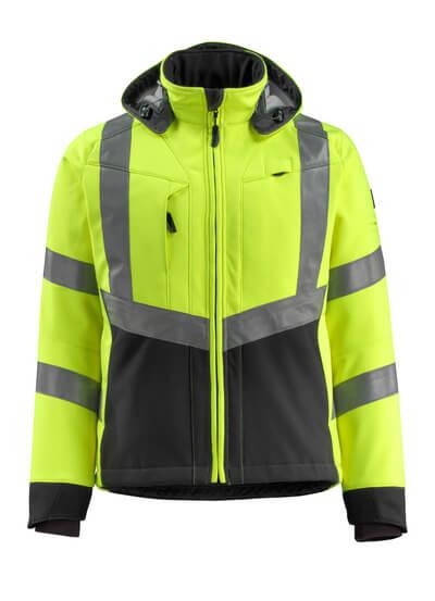MASCOT® Blackpool Soft Shell Jacke Größe S, hi-vis gelb/schwarz