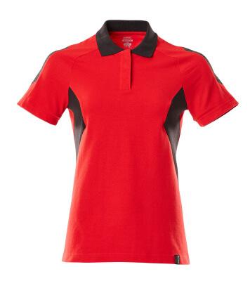 Polo-Shirt, Damen Polo-shirt Größe 5XLONE, verkehrsrot/schwarz