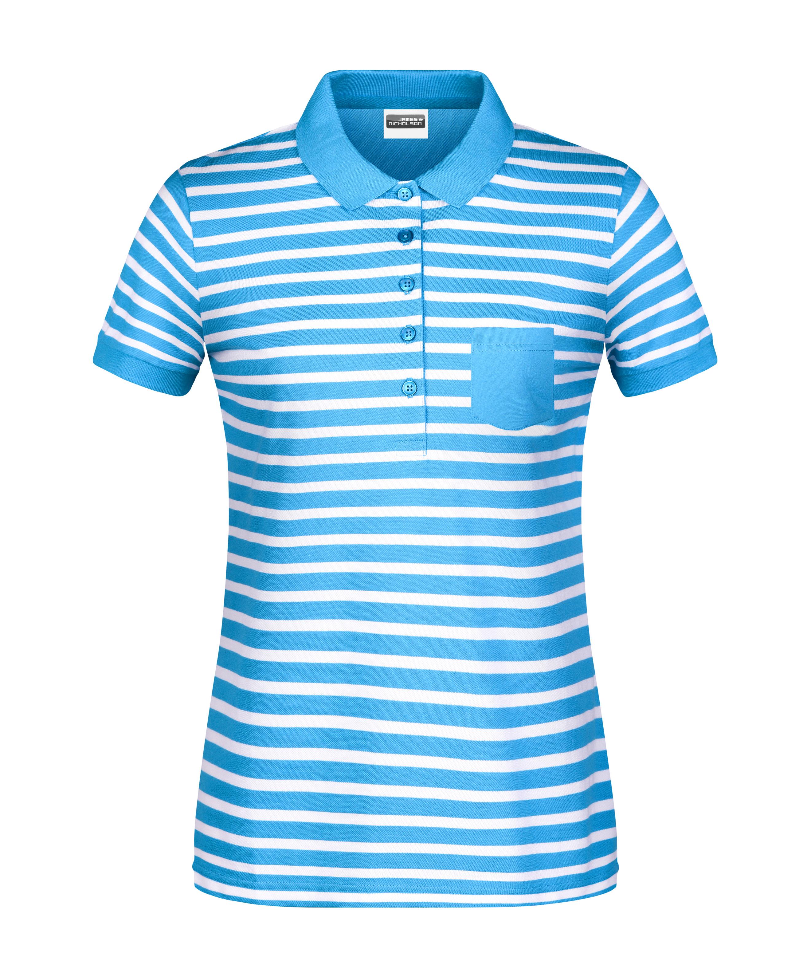 Polo in maritimem Look mit Brusttasche