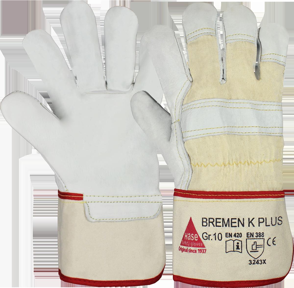 BREMEN-K PLUS, Arbeitshandschuh aus Rindnarbenleder, Größe 10