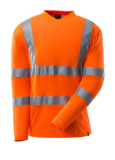 T-Shirt, V-Ausschnitt, lange Ärmel T-shirt Größe 4XL, hi-vis orange