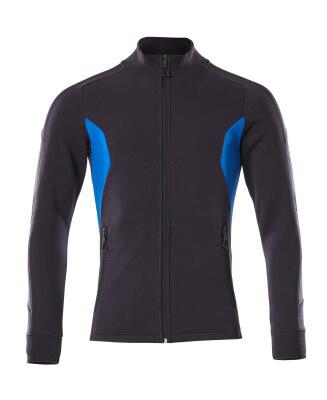Sweatshirt mit Reißverschluss,modern Fit Sweatshirt mit Reißverschluss Größe L ONE, schwarzblau/azurblau