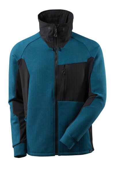 Sweatshirt, Reißverschluss, Stehkragen Sweatshirt mit Reißverschluss Größe L, Dunkelpetroleum/ schwarz