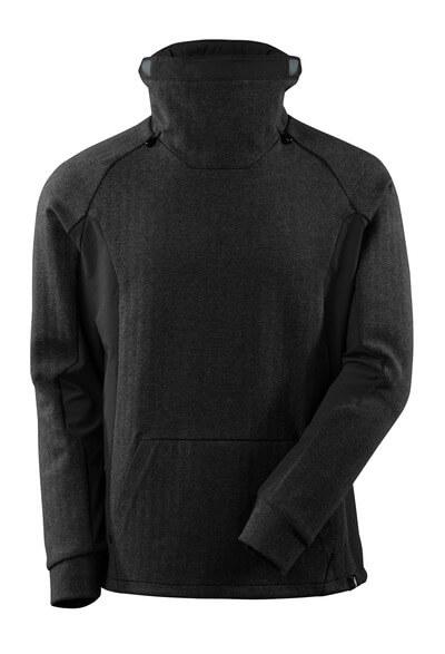 Sweatshirt mit regulierbaren Stehkragen Sweatshirt Größe XS, Schwarz-meliert/Schwarz
