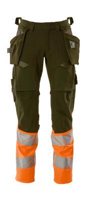 Hose mit Hängetaschen, Stretch Hose Größe 90C50, moosgrün/orange