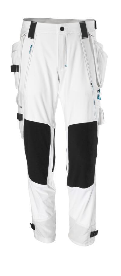 Hose mit Hängetaschen, Stretch Hose Größe 82C46, weiss