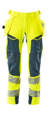 Hose mit Hängetaschen, Stretch Hose Größe 90C48, hi-vis gelb/dunkelpetroleum