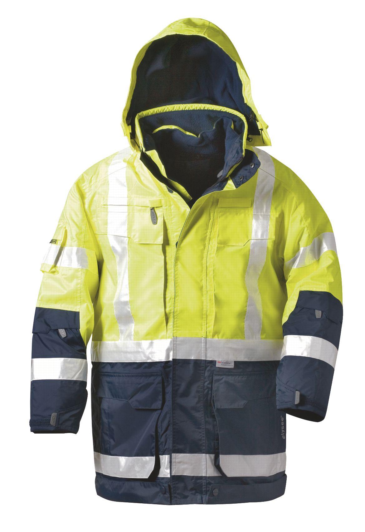 Warnschutz-Parka EN ISO 20471 Klasse 3, fluorgelb/marine