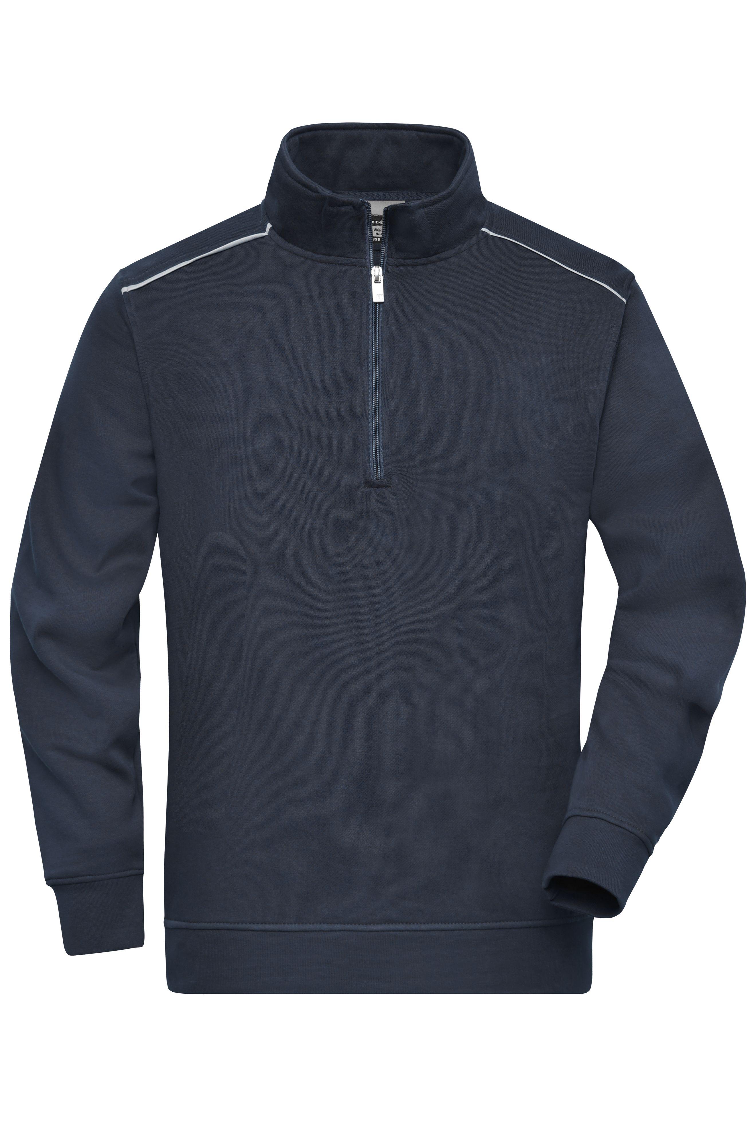 Sweatshirt mit Stehkragen, Reißverschluss und Kontrastpaspel