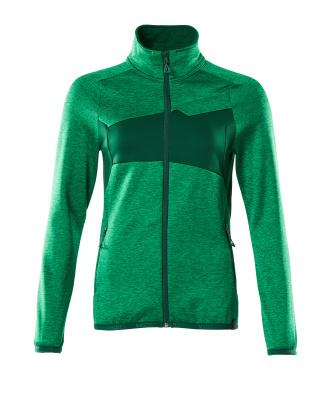 Fleecepullover mit Reißverschluss, Damen Microfleecejacke Größe S, grasgrün/grün