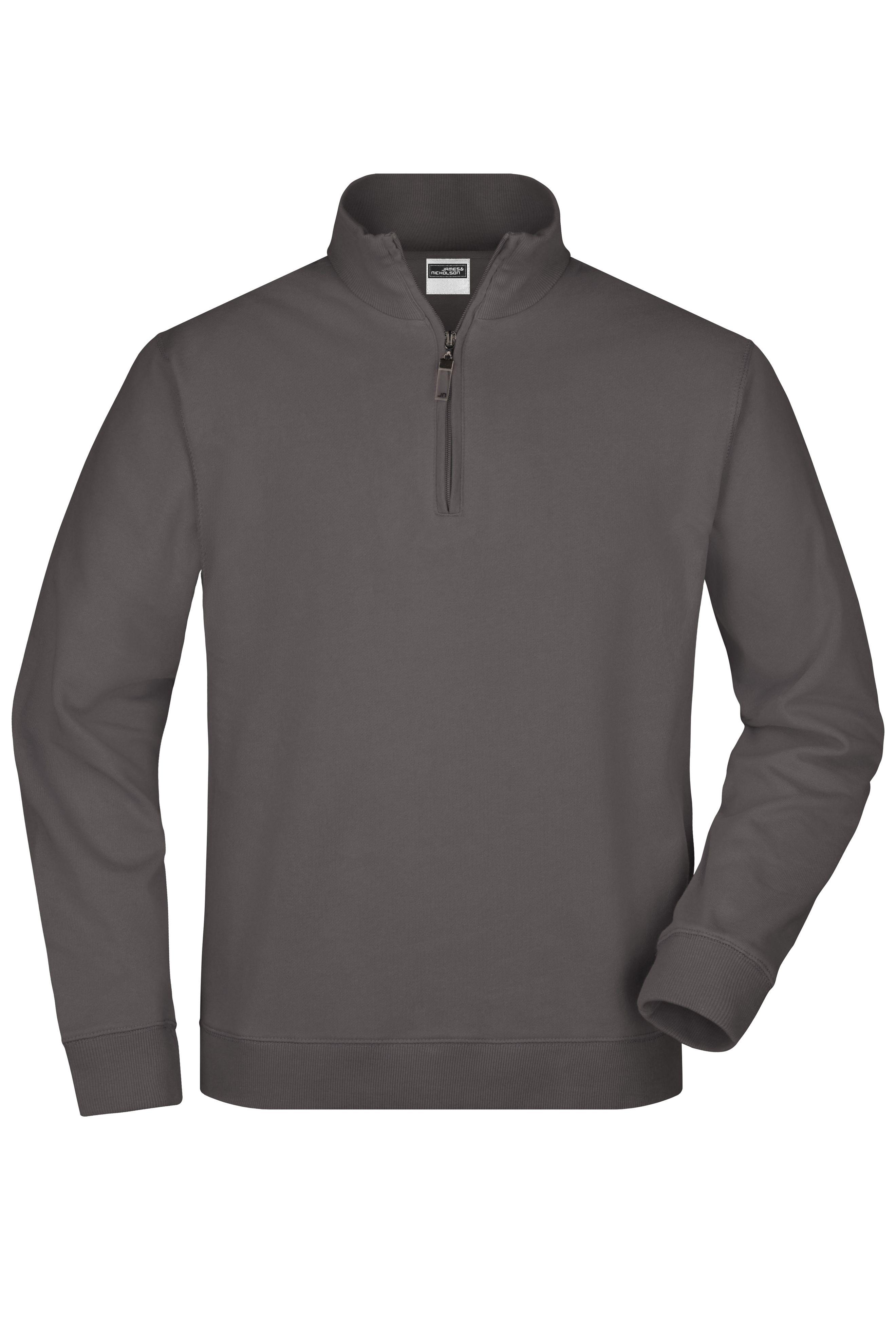 Sweatshirt mit Stehkragen und kurzem Reißverschluss
