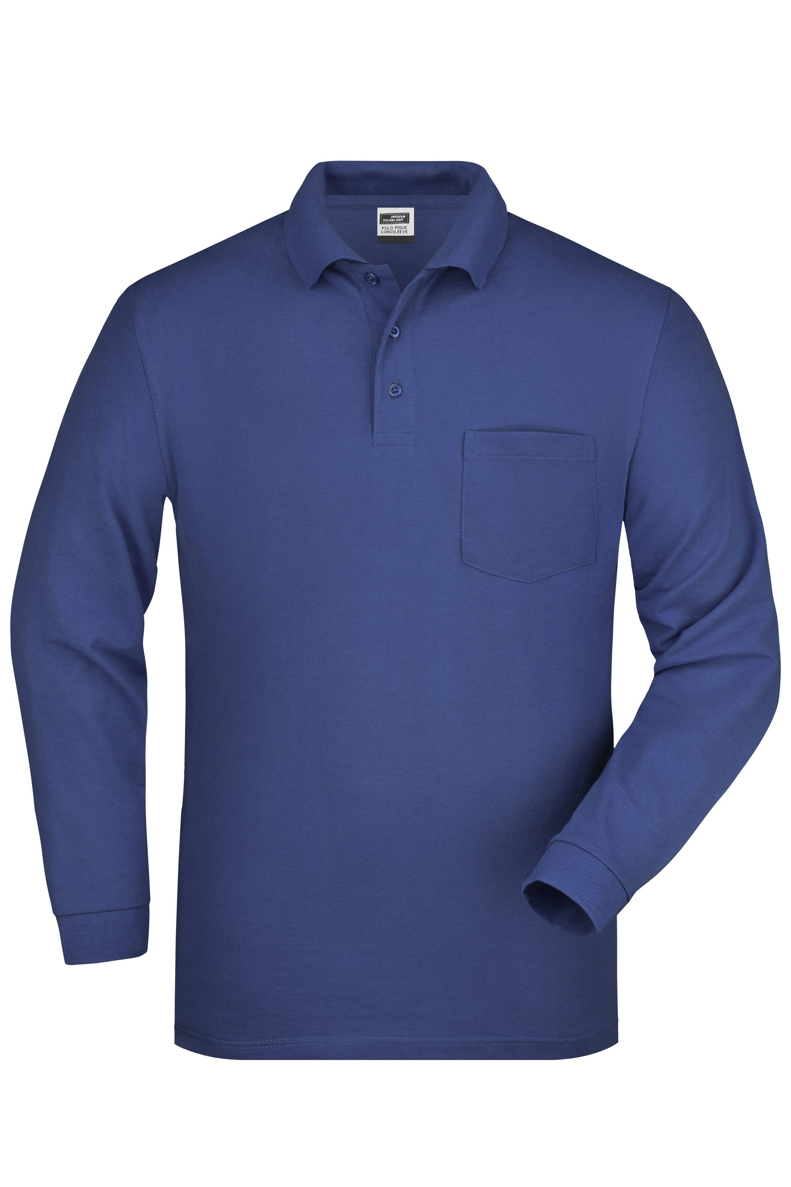 Langarm-Polohemd mit Brusttasche