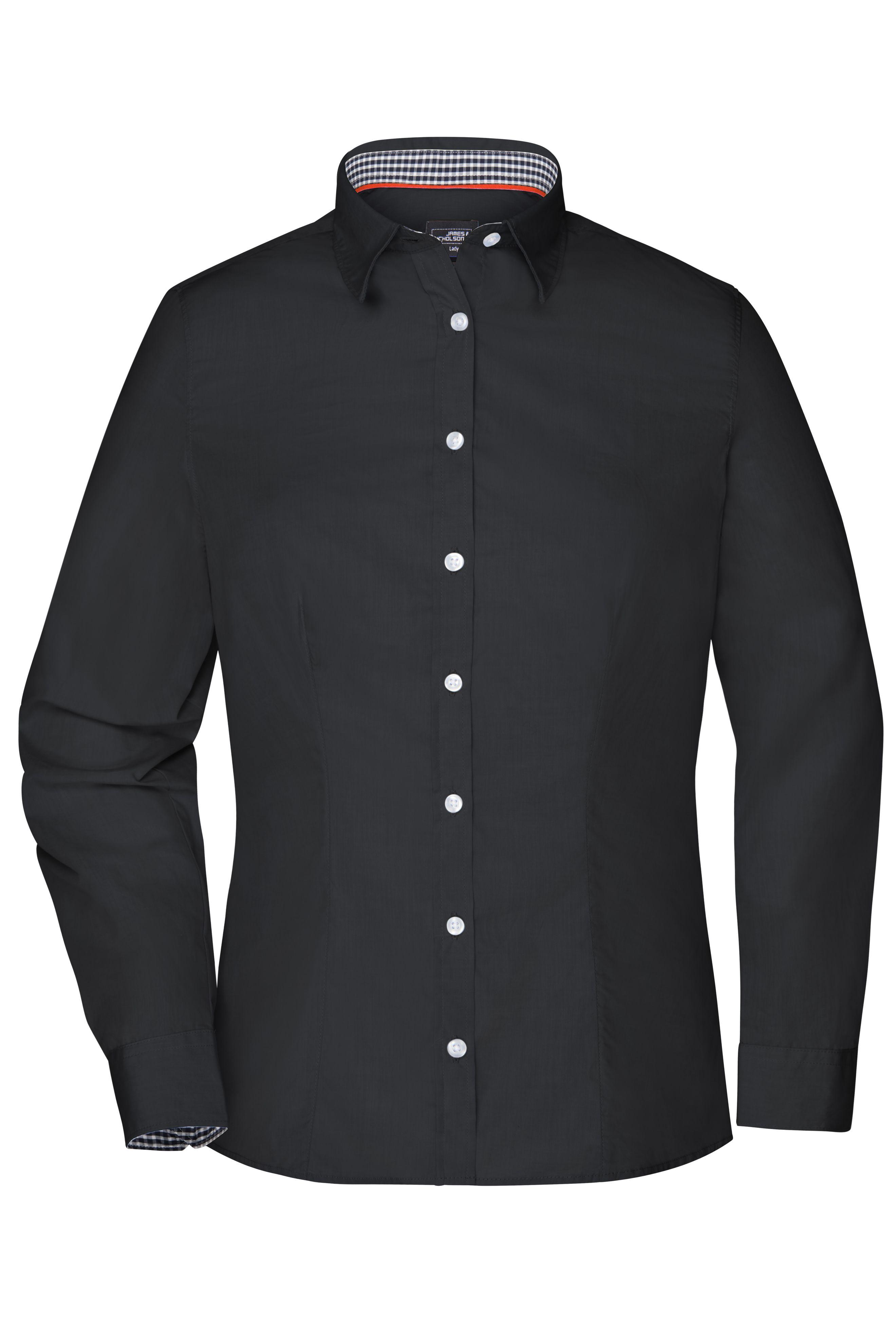 Modisches Shirt mit Karo-Einsätzen an Kragen und Manschette