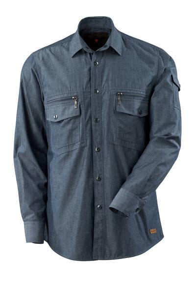 Hemd Chambray mit Netzfutter  Größe L, gewaschener dunkler denim