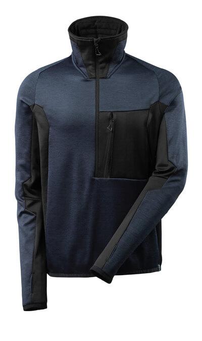Fleecepullover mit kurzem Reißverschluss Microfleecejacke Größe XS, dunkelmarine/schwarz