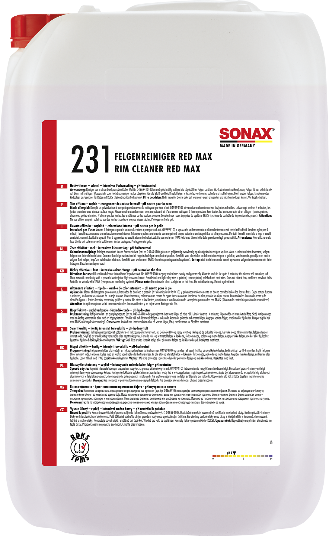 SONAX 02317050  FelgenReiniger Red Max 25 l