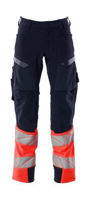 Hose mt Knietaschen, Stretch Hose Größe 82C48, schwarzblau/hi-vis rot