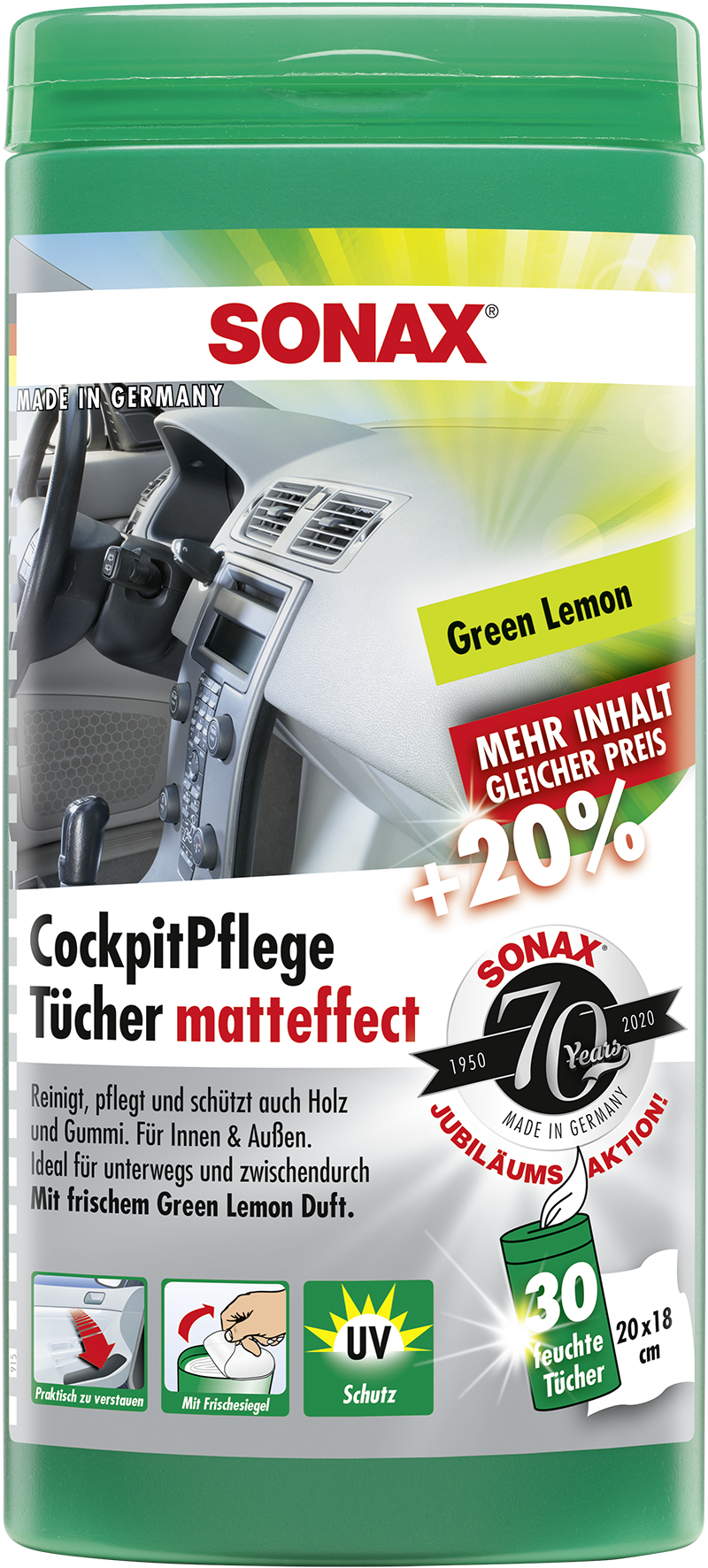 SONAX 04128000  CockpitPflegeTücher Matteffect Green Lemon Box Jubiläumsaktion +20% 30 Stück
