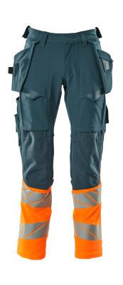 Hose mit Hängetaschen, Stretch Hose Größe 76C50, dunkelpetroleum/hi-vis orange