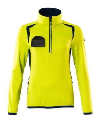 Fleecepullover mit kurzem Zipper, Damen Microfleecejacke Größe 4XL, hi-vis gelb/schwarzblau
