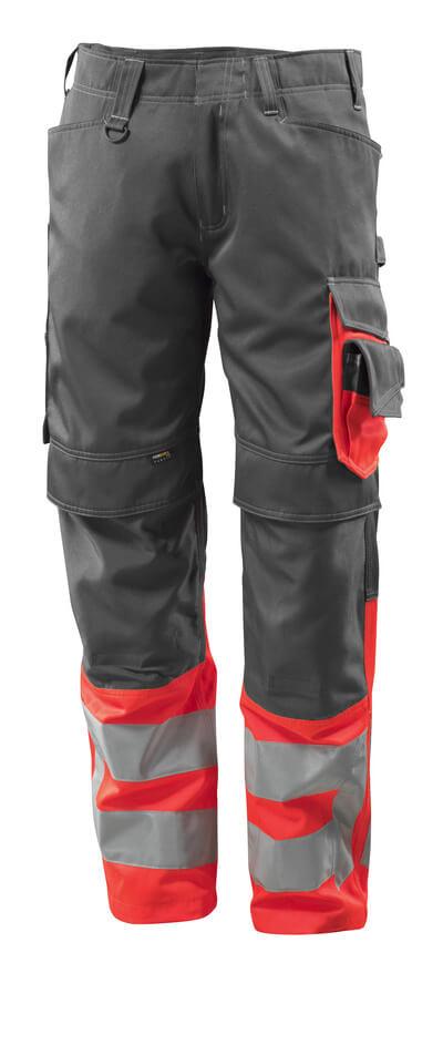 MASCOT® Leeds Hose Größe 76C50, dunkelanthrazit/hi-vis rot