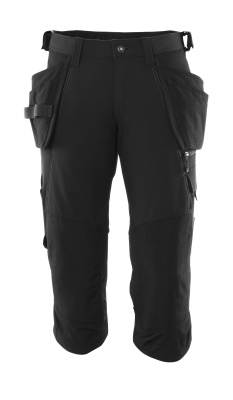 Dreiviertel-Hose, Hängetaschen, Stretch Handwerker-Dreiviertel-Hose Größe C46, schwarz