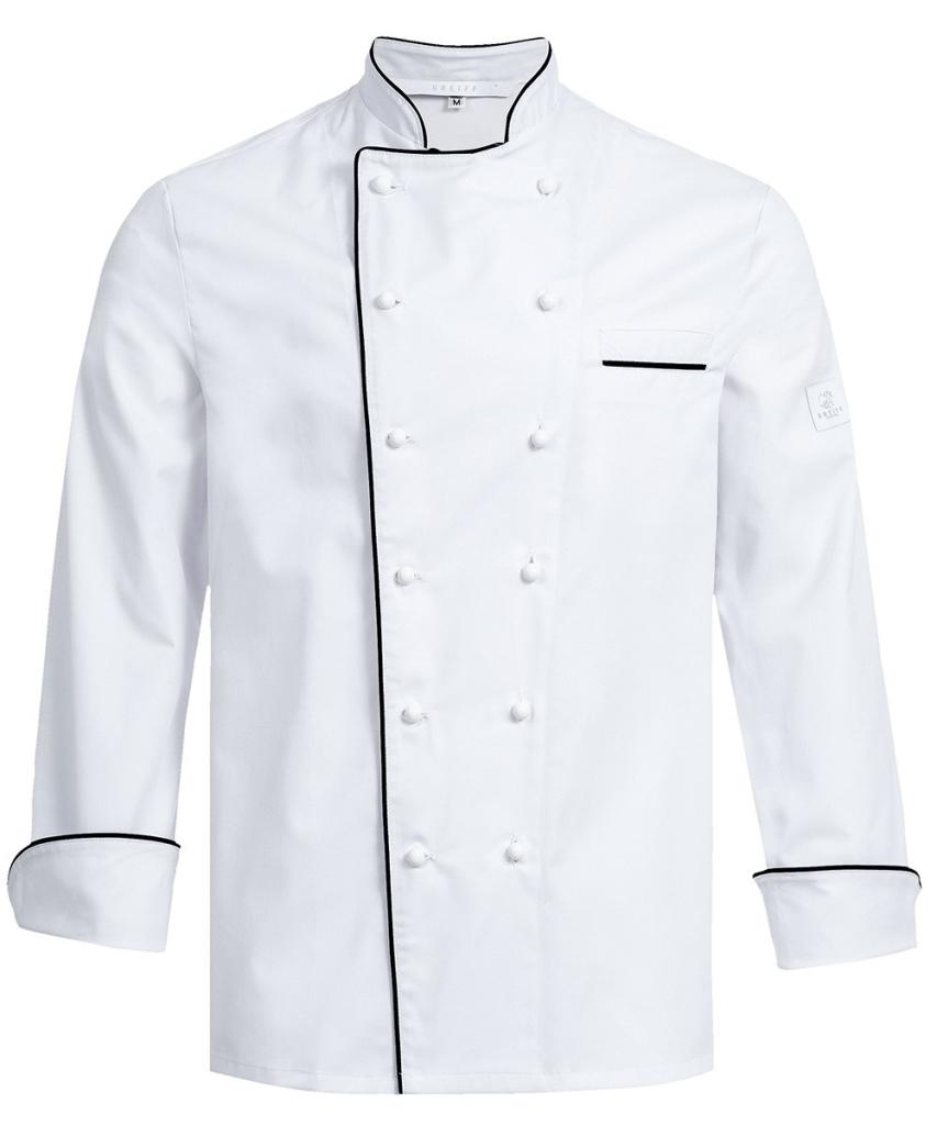 Kochjacke weiß Paspel schwarz