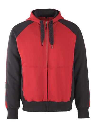 MASCOT® Wiesbaden Kapuzensweatshirt Größe XS, rot/schwarz