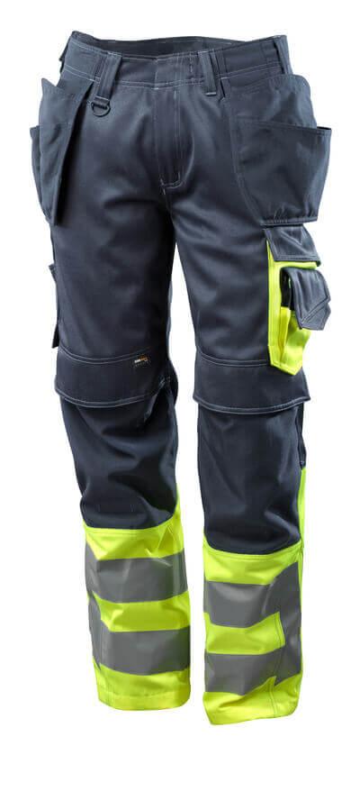 Hose mit Hängetaschen Hose Größe 82C66, schwarzblau/hi-vis gelb