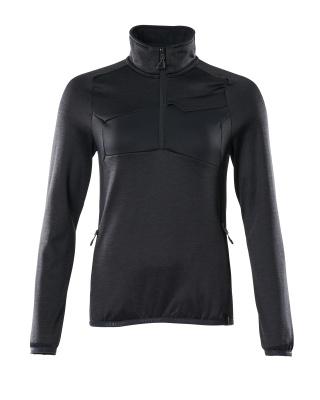 Fleecepullover mit kurzem Zipper, Damen Microfleecejacke Größe 2XL, schwarzblau
