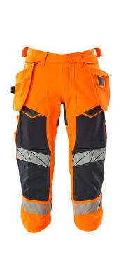 Dreiviertel-Hose, Hängetaschen, Stretch Dreiviertel-Hose Größe C64, hi-vis orange/schwarzblau