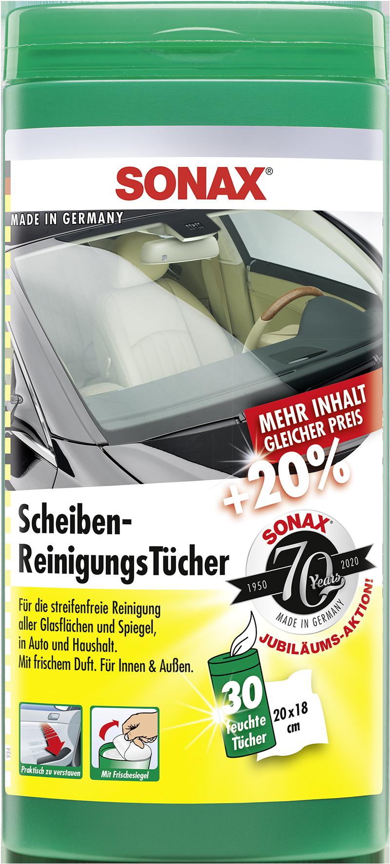 SONAX 04120000  ScheibenReinigungsTücher Box Jubiläumsaktion +20% 30 Stück