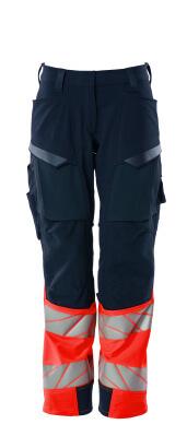 Hose, Damen,Diamond, Knietaschen,Stretch Hose Größe 76C50, schwarzblau/hi-vis rot