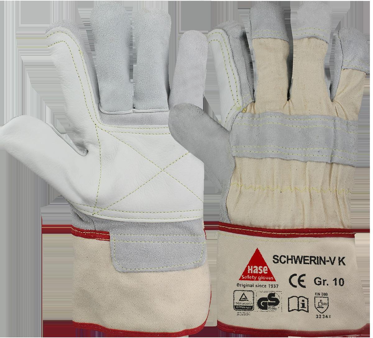 SCHWERIN-V K, Arbeitshandschuh, Rindspalt-/Rindnarbenleder, Größe 9